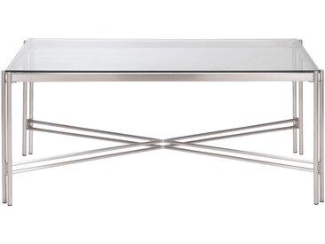 Table basse rectangulaire en verre et acier Alinéa