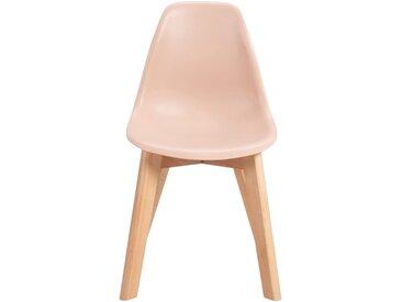 Chaise enfant assise plastique & pieds en hêtre - Sable rosé Alinéa