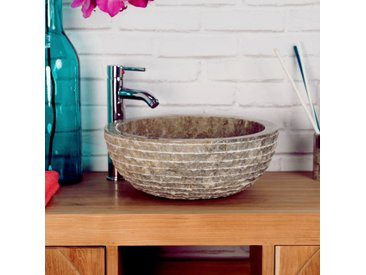 Lave mains en marbre VESUVE pierre gris taupe 35cm