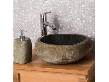 e1a3e977b7ec5 Vasque à poser en pierre naturelle salle de bain GALET 30 cm