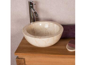 Vasque BARCELONE en marbre à poser crème 30 cm