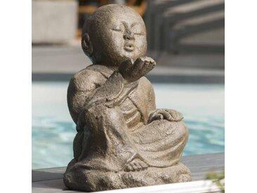 Statue de jardin moine Shaolin heureux patiné brun antique 40 cm