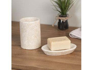 Ensemble Gobelet porte savon en marbre crème