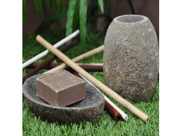Ensemble Gobelet porte savon galet pierre de rivière