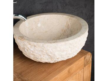 Vasque ROME en marbre à poser crème 35 cm