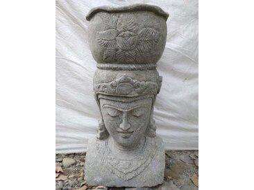 Statue extérieur pot déesse balinaise en pierre volcanique 80 cm