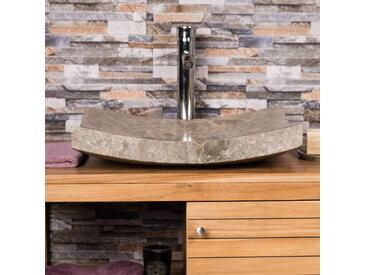 Grande Vasque grise 50cm à poser rectangle en marbre GENES poli