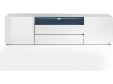 Meuble TV design VERONA 185 cm blanc laqué brillant 2 portes 2 tiroirs 1 niche