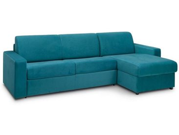 Canapé d'angle convertible NIGHT EDITION VELOURS rapido couchage 140 cm bleu paon