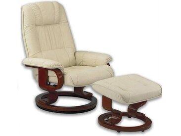 EXCEL fauteuil relax avec repose pieds, cuir beige