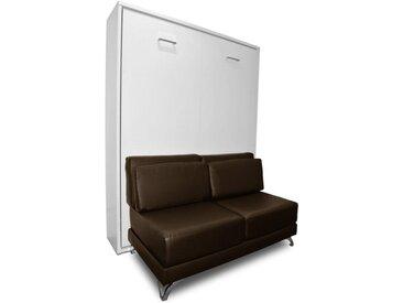 Armoire lit escamotable TOWN canapé marron intégré couchage 140 * 200cm