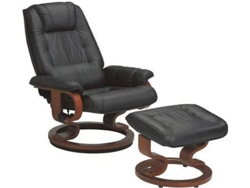 EXCEL fauteuil relax avec repose pieds, cuir noir