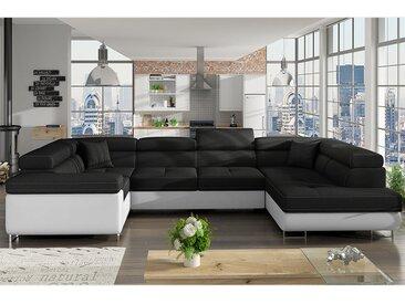 Canapé panoramique convertible noir et blanc WILLIS