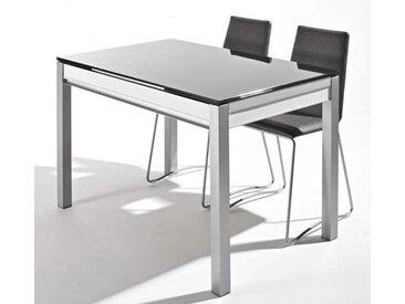 TABLE EN VERRE AVEC TIROIR ET ALLONGES DAMA