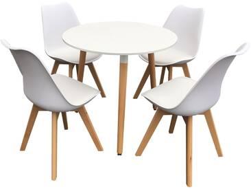 Ensemble table et chaises scandinave Nola