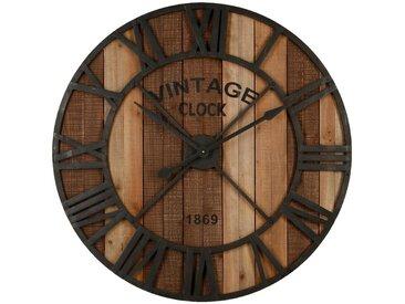 Pendule Vintage Marron en métal & bois D91