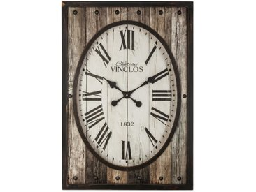 Pendule ovale & contour en bois 50x70