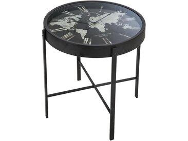 Table à café pendule en fer & verre