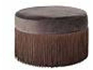 bloomingville Pouf en Velours Marron à Franges Grandma