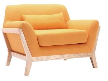 Fauteuil design jaune pieds bois YOKO