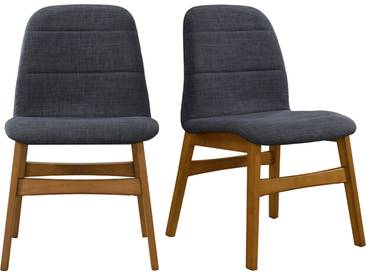 Chaises design pieds noyer tissus gris anthracite (lot de 2) JUKE