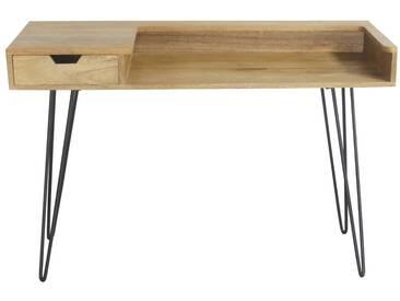 Bureau design en manguier avec pieds épingle métal noir VIBES