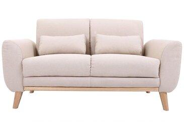 Canapé design 2 places tissu naturel et pieds chêne EKTOR