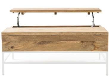 Table basse relevable manguier et métal blanc BOHO