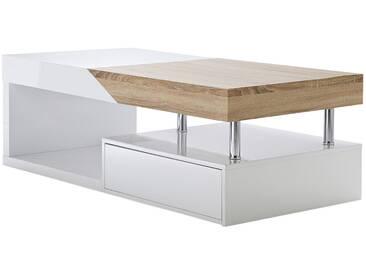 Table basse design avec rangements blanc laqué et chêne SLICE