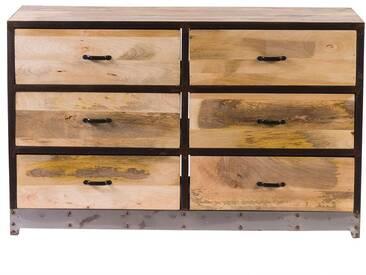 Commode 6 tiroirs bois et métal INDUSTRIA