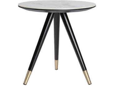 Table dappoint design effet marbre avec pieds bois et or ALLURE