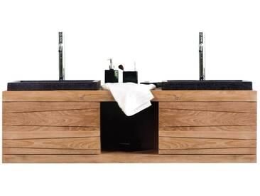 Meuble de salle de bain double vasques suspendu en teck ANKO
