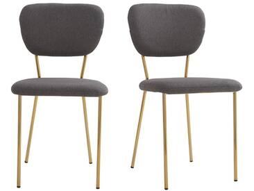 Chaises design en tissu gris foncé et structure en métal doré (lot de 2) LEPIDUS