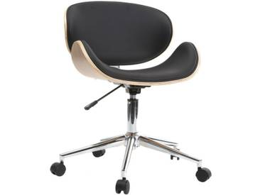 Chaise de bureau design PU noir et bois clair WALNUT