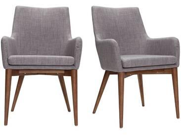 Lot de 2 fauteuils design bois et tissus gris clair SHANA