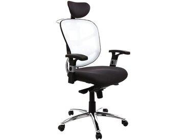 Fauteuil de bureau ergonomique noir avec dossier blanc et pieds chromés UP TO YOU