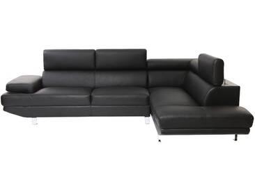 Canapé dangle en cuir noir avec têtières ajustables JENKINS - cuir de buffle