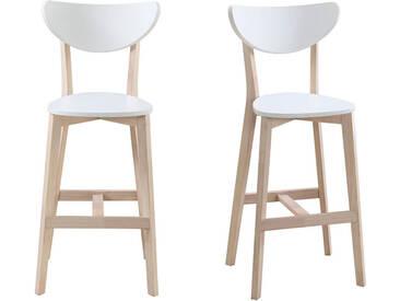 Tabourets de bar scandinave blanc et bois 75cm (lot de 2) LEENA