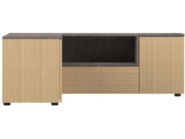 Meuble TV d'angle design bois et gris béton QUADRA