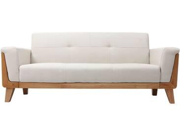 Canapé design 3 places blanc cassé pieds bois FJORD