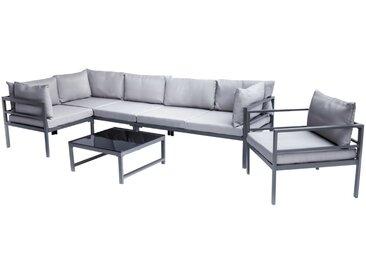 Salon de jardin en métal avec table, canapé d'angle et fauteuil SALENTO