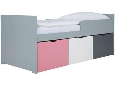 Lit enfant à tiroirs 90x200 cm rose, blanc et gris JULES