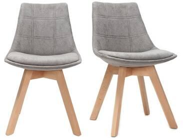 Chaises scandinaves en tissu gris et bois (lot de 2) MATILDE