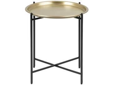 Table dappoint design ronde métal doré LUZ