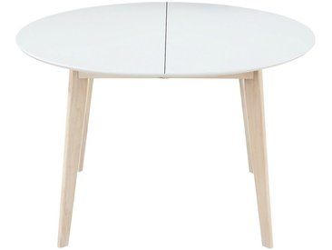 Table à manger design ronde extensible blanc et bois L120-150 LEENA