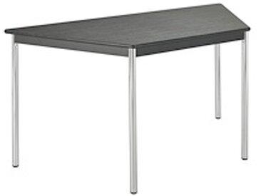 Table de réunion frêne noir/chrome trapézoïdale pieds vérins