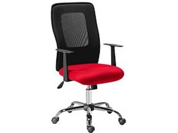 Fauteuil de bureau assise tissu dossier résille Net Mesh rouge
