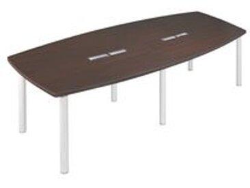 Table modulaire Frégate 10 personnes wengué/blanc.