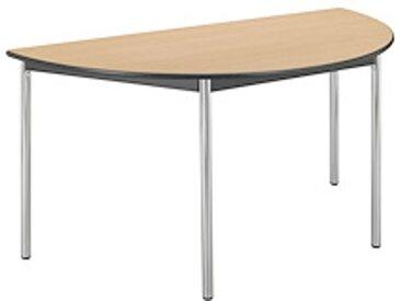 Table réunion hêtre/chrome demi rond pieds vérins