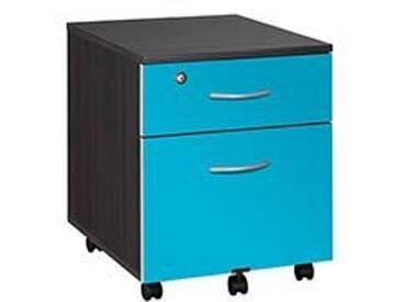 Caisson mobile noir en bois - 2 tiroirs bleuets